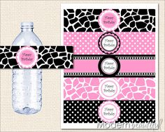 Giraffe Zebra Leopard Safari Party Water Bottle Labels Happy Birthday Party Printable Party Hot Pink.