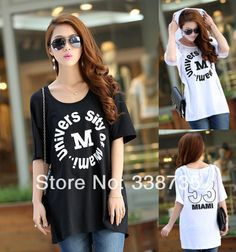 b294479ce95 HOT New 2014 women hooded t shirt brand black   white summer casual  short-sleeved T-shirt cotton plus size loose tops for women  15.80