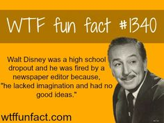 Some people have no vision.Not walt disney / people's fact MORE OF WTF FUN FACTS are coming HERE people, education and fun facts Funny Disney Facts, Disney Memes, Disney Quotes, Funny Facts, Weird Facts, Random Facts, Walt Disney Facts, Crazy Facts, Disney Trivia