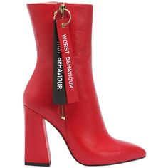 Havva Women 100mm Worst Behaviour Leather Boots ($700) ❤ liked on Polyvore featuring shoes, boots, red, side zipper boots, leather high heel boots, genuine leather boots, leather pointed toe boots and red high heel shoes