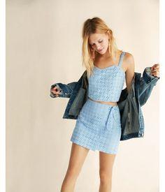 Eyelet Lace Wrap Front Mini Skirt Blue Women's 16
