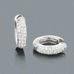 Small Pave Diamond Hoop Earrings 1ct 14K Gold