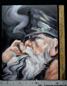Gray Bearded Leather Daddy Smoking a Cigar oil paint by kmencher