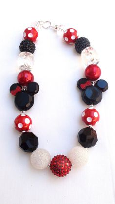 Disney Classic Minnie Mouse / Mickey Mouse Inspired Chunky Necklace by AlternativeScraps, $15.00