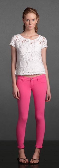 hot pink with white lace top