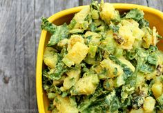 """Curried Sweet Potato Salad: If traditional Potato Salad was in a midlife crisis and its therapist asked, """"What would you be if you could be anything in the world,"""" it might say """"Curried Sweet Potato Salad!"""" It's distinctive, daring, and delectable, not to mention, attractive! (vegan, no salt, sugar or oil.)"""