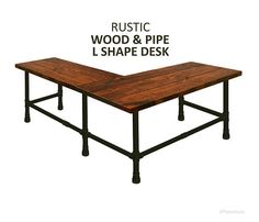Corner Desk Wood Pipe Rustic And Iron Urban L Shaped Office Computer
