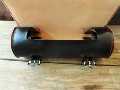 Handmade leather motorcycle round bag tool by LeatherInceptions