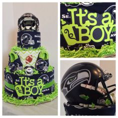 Seattle Seahawks 3 tier diaper cake by babycakesbyangie on Etsy, $129.95........cuz we know i'll end up with a 3rd boy.