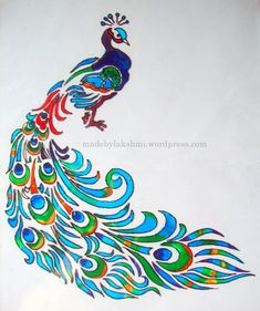 Glass Painting Tutorial - M by Lakshmi Peacock Drawing, Peacock Painting, Peacock Art, Peacock Outline, Peacock Design, Silk Painting, Glass Painting Patterns, Glass Painting Designs, Stained Glass Patterns