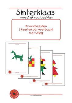 Sintmozaiek-1 Met mozaïek kunnen kinderen de mooiste dingen maken. Bianca Oldenbeuving maakte 10 voorbeelden in het thema Sinterklaas, die nagelegd kunnen worden met de mozaïek van Klazien Smid. Deze nieuwe voorbeelden zitten niet in het grote pakket dat ook bij Kleuteruniversiteit verkrijgbaar is. Elk voorbeeld staat op 3 kaarten: een met lijnen, een zonder lijnen en een zwart-wit voorbeeld voor differentiatie in moeilijkheid.
