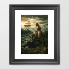 Mermaid Framed Art Print by LauraSava - $35.00-Bathroom pic