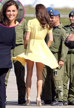 Kate Middleton While speaking with soldiers at Calgary Airport in Canada on July 7, 2011, the wind caused the Duchess of Cambridge's yellow dress to fly up slightly.    Read more: http://www.usmagazine.com/celebrity-style/pictures/celebrity-wardrobe-malfunctions-marilyn-monroe-moments-2013711/33782#ixzz2kfW7i18u  Follow us: @Us Weekly on Twitter | usweekly on Facebook