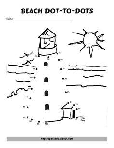 Lighthouse dot to dot 1-21, kindergarten math worksheet