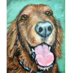 Irish Setter Dog Art Print 8x10 or 11x14 Painted by DottieDracos, $12.00