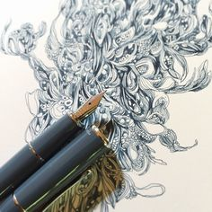 Drawing with Super5 Atlantic ink and a Pilot Prera EF nib. Love the blue grey colour of this ink. @gouletpens