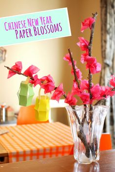 tissue paper blossoms kids craft for Chinese New Year