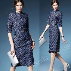 ★ Niebieski Leaf Pattern ♪ stylowy dżinsowa sukienka ★
