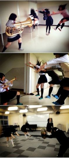 """""""thedailywhat: Photo Fad of the Day: Tuba Gunning is the New Hadoukening in Japan Japan's latest trending photo fad turns musical instruments into powerful air blasting weapons. Coming off the heels of the Hadoukening (better known as """"Makankosappo"""" in Japan) pics that went viral in March, Japanese band students are tweeting photographs of themselves while in mid-leap as if they're getting blaste..."""
