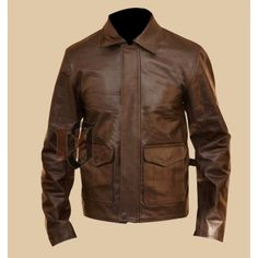 Product Features: Distressed Look Cowhide leather has been used Polyester lining on the inside Worn By: Harrison Ford Inspired from: Indiana Jones 4 Best quality and stitching throughout the jacket Customer satisfaction guaranteed. Distressed Leather Jacket, Men's Leather Jacket, Leather Jackets, Man Jacket, Real Leather, Leather Men, Brown Leather, Cowhide Leather, Types Of Jackets
