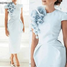 Blue Satin Dress, Satin Dresses, Elegant Dresses, Bride Dresses, Dresses Dresses, Silk Satin, Dress Black, Wedding Dresses, Tea Length Dresses