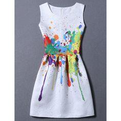 Sweet Round Neck Colorful Print Women's Dress #women, #men, #hats, #watches, #belts, #fashion, #style