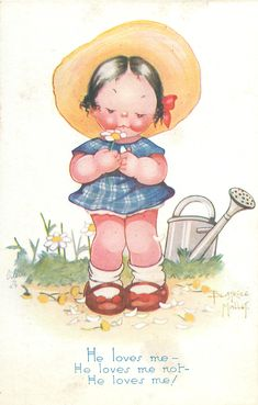 HE LOVES ME- HE LOVES ME NOT- HE LOVES ME!  girl plays the daisy game  - Art by BEATRICE MALLET