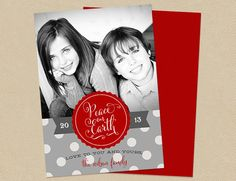 Christmas Photo Card  Holiday 4x6 or 5x7 Double by seedtosprout
