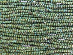 6/0 Matte Opaque Green Turquoise Picasso Czech Glass Seed Bead Strand (CW187) by beadsandbabble on Etsy