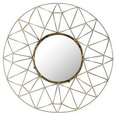 Circular wall mirror with a geometric openwork frame.  Product: Wall mirrorConstruction Material: Iron, MDF and mirrored glassColor: NaturalDimensions: 26 Diameter x 4 D