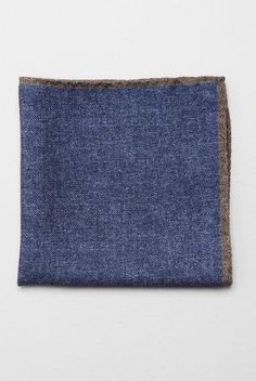 FAIRFAX - Muted Blue Pocket Square with Brown Border