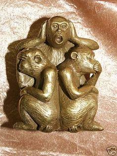 Messing-3-Drei-Affen-nichts-hoeren-nichts-sehen-sagen-monkey-Zodiac-Sign