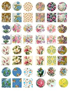 Free Bottle Cap Images: Vintage flowers - Bottle Cap images