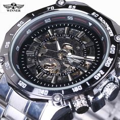 Buy now 2016 New Winner Hollow Engraving Skeleton Casual Designer steel Case Gear Bezel Watches Men Luxury Brand Automatic Watches just only $18.86 with free shipping worldwide  #menwatches Plese click on picture to see our special price for you