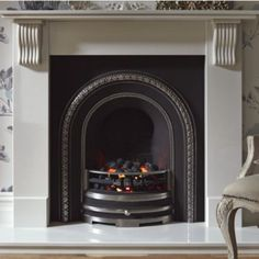 Victoria White Micro Marble with Black Cast Inset Electric Fireplace Suite, 0000003686522