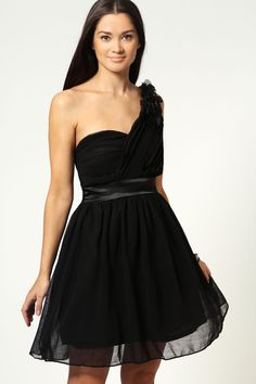 Helen Pleated Corsage One Shoulder Prom Dress