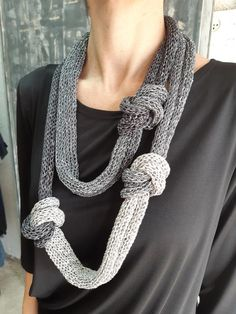 An instruction knot necklace, a unique knitted scarf, unique textile jewelry, black and white knitted Knitted Necklace, Scarf Necklace, Fabric Necklace, Knitted Jewelry, Textile Jewelry, Fabric Jewelry, Special Gifts For Mom, Jewelry Knots, Scarf Jewelry