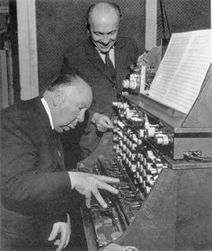 Alfred Hitchcock plays Oskar Sala's Mixturtrautonium during the recording of the soundtrack for 'The Birds' 1961.  http://120years.net/