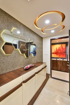 Inner foyer modern corridor, hallway & stairs by aarayishh modern House Ceiling Design, Ceiling Design Living Room, Bedroom False Ceiling Design, False Ceiling Living Room, False Ceiling Ideas, Modern Ceiling Design, False Ceiling For Hall, Drawing Room Ceiling Design, Hallway Ceiling