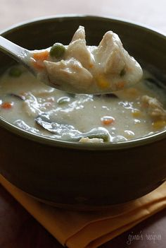 chicken pot pie soup. super easy and really, really good. especially in bread bowls.