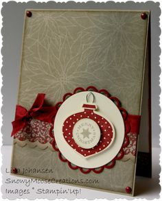 handmade Christmas card ... Crumb Cake and Cherry Cobbler ... clean design ...ornament stamped, punched and popped ...