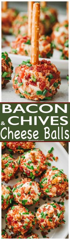 Bacon and Chives Cheese Balls Recipe - Easy, cheesy and bacony bite-size appetiz. Bacon and Chives Cheese Balls Recipe - Easy, cheesy and bacony bite-size appetizer ideal for your Holiday parties or even game days! Bite Size Appetizers, Cheese Appetizers, Finger Food Appetizers, Holiday Appetizers, Yummy Appetizers, Finger Foods, Appetizer Recipes, Holiday Recipes, Holiday Parties