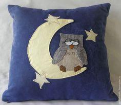 "Купить Подушка ""Сонная совушка"" - тёмно-синий, сова, подушка на диван, аппликация из ткани"