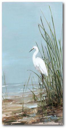 Highland Dunes 'White Egret' Graphic Art Print on Wrapped Canvas Painting Prints, Canvas Prints, Big Canvas, Framed Prints, Framed Art, White Egret, Coastal Art, Beach Scenes, Beach Art