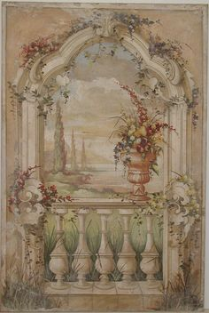 Decorative archway with a landscape and vase of flowers | Italian Frescoes