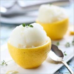 Delicious Lemon Sorbet Served In a Lemon - Adultify-it! Blend in some Sutter Home Sweet White & enjoy.