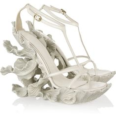 Alexander McQueen Sculpted resin and leather sandals ($1,398) ❤ liked on Polyvore featuring shoes, sandals, heels, wedges, alexander mcqueen, heeled sandals, ankle strap platform sandals, wedges shoes, leather sandals and leather wedge sandals