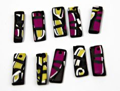 Set of Handmade Mosaic Polymer Clay Pendants in Rectangular Shapes by blancheandguy on Etsy