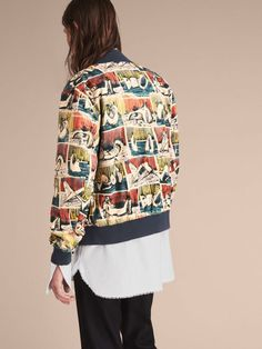 A lightweight cotton bomber jacket featuring a print taken from Henry Moore's drawing 'Reclining Figures' 1937, chosen from the Henry Moore Foundation archive. The easy shape has a knitted hem, collar and cuffs to create a defined fit.
