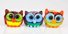 Mini Owl Trio Lampwork Glass Beads Rainbow by maybeads on Etsy